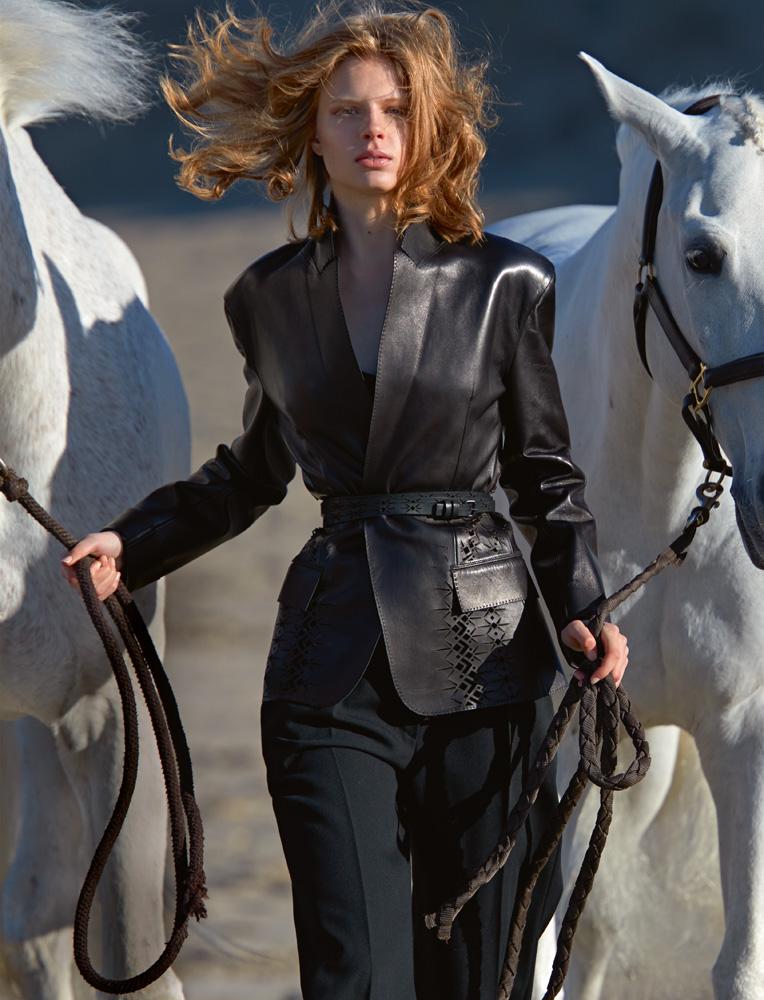 Leather jacket and belt,HAIDER ACKERMANN. Trousers,HERMÈS.
