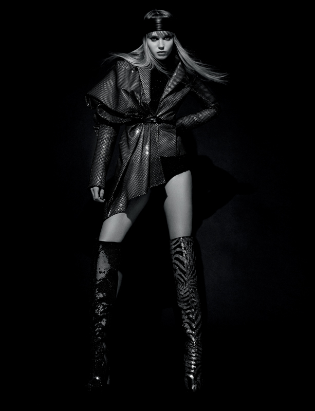 Draped fishnet and sequins jacket, Lurex turtleneckand panties, HALPERN. Thigh boots, CHRISTIAN LOUBOUTIN X HALPERN.