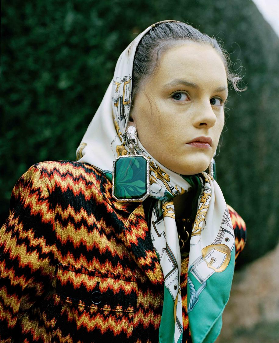 Cotton and silk palysuit, MISSONI. Vintage scarf, HERMÈS. Earring, BALENCIAGA.