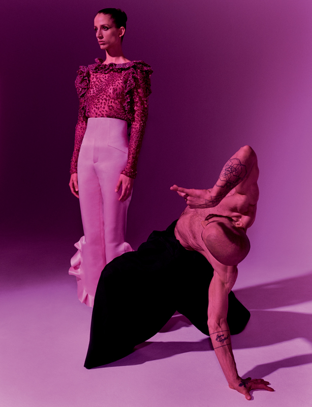 Tulle shirt with sequined flounces and ruffles, and duchess satin ruffle high-waisted trousers, REDEMPTION COUTURE.