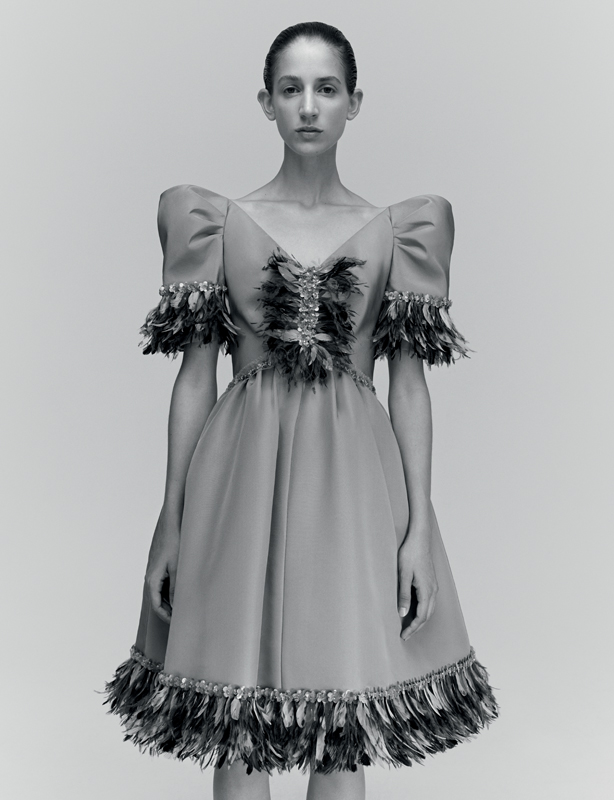 Gray faille short dress with embroidered stripes of feathers, CHANEL HAUTE COUTURE.