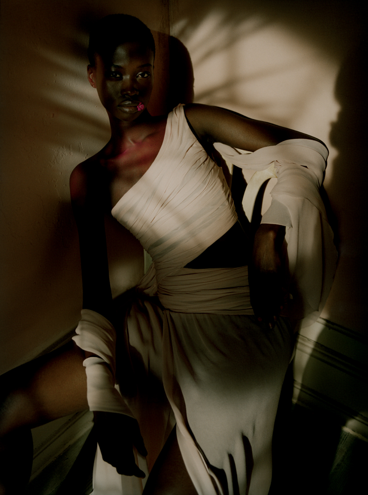 Long dress with asymetrical shoulder draped in silk,REDEMPTION.