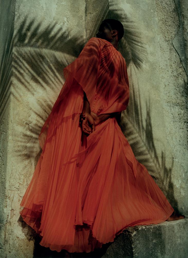 Dress in pleated silky chiffon,GUCCI.