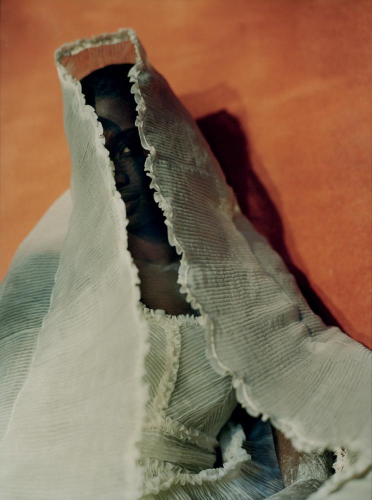 Long dress in pleated organza,FENDI.