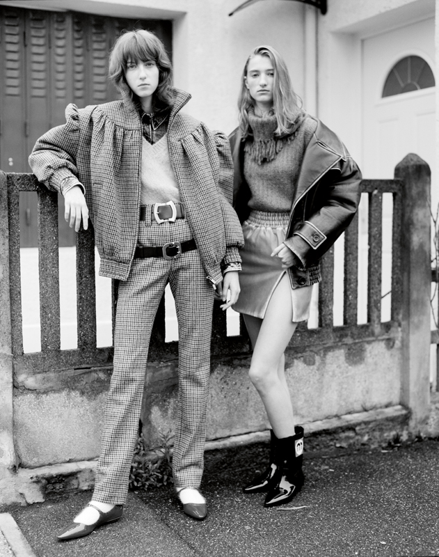 To the left and to the right : jacket and wool trousers, mohair' pull, denim shirt, belts, socks and shoes, MIU MIU. Jacket and leather'skirt, mohair' pull and boots, MIU MIU.