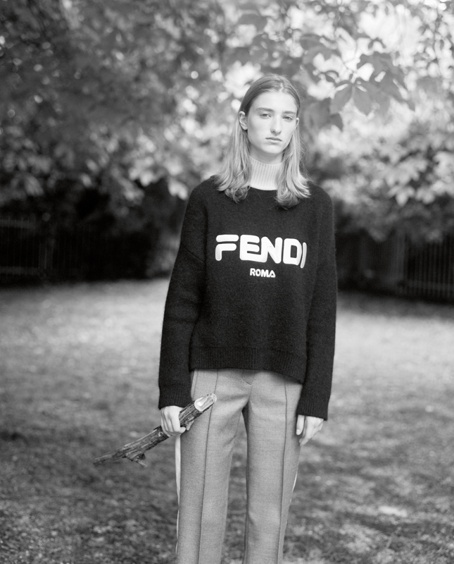 Mohair' pull, and wool and silk trousers, FENDI.