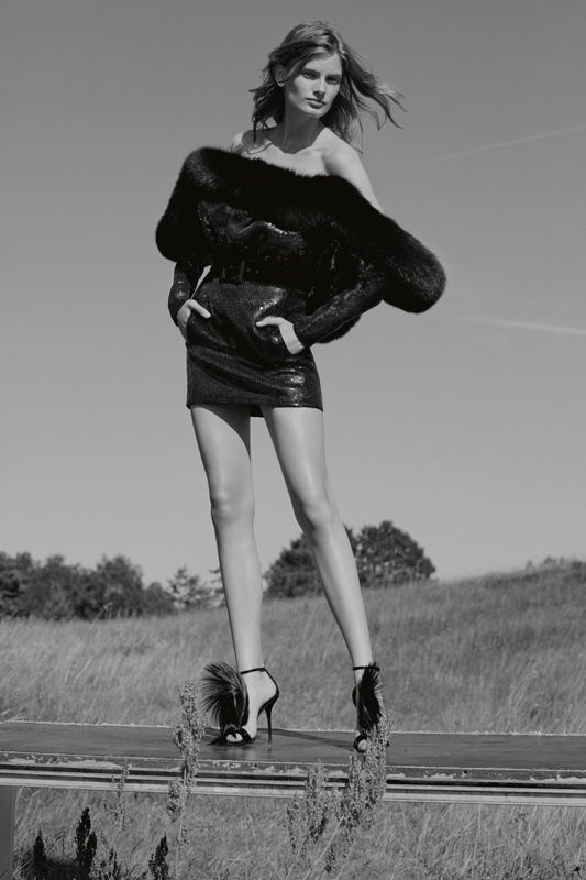 Embroidered and fur dress, belt and sandals, SAINT LAURENT BY ANTHONY VACCARELLO.