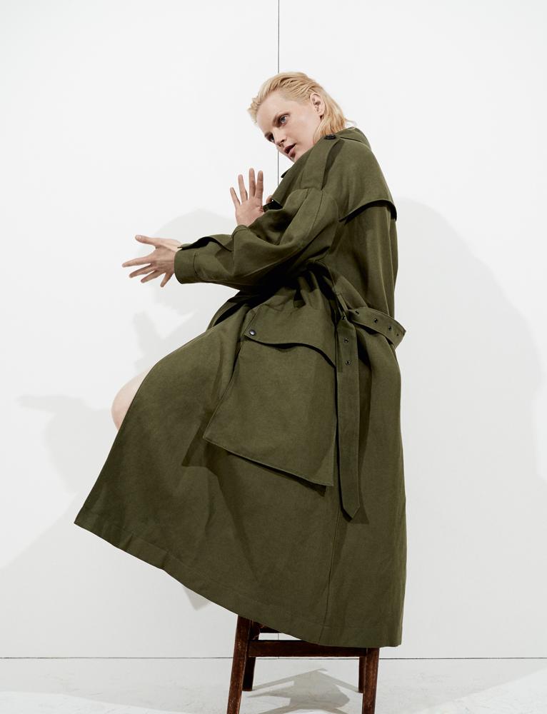 Ramie and cotton military coat, BURBERRY.