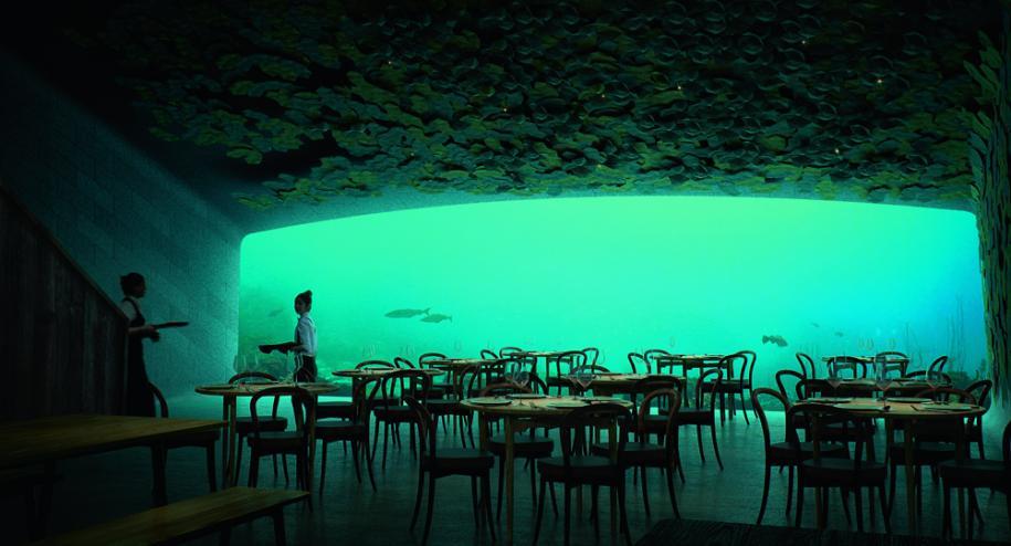 Under, le premier restaurant sous la mer d'Europe, réalisé par l'agence Snøhetta.