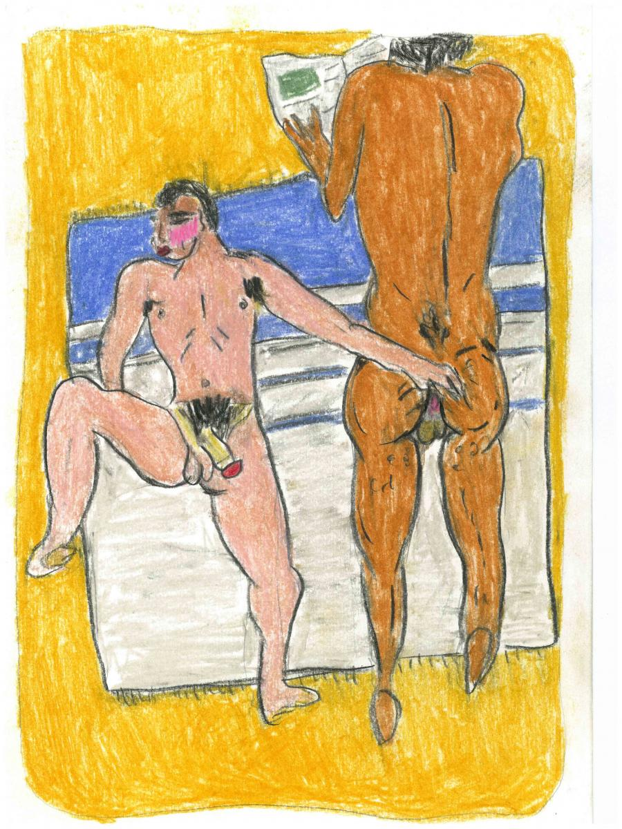 Soufiane Ababri, Bed work (2017-2018), color pencil on paper.