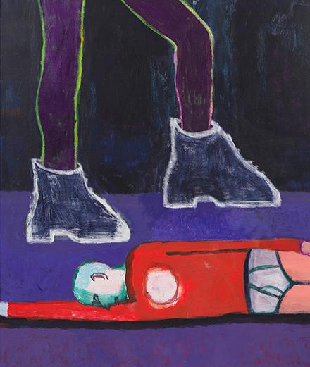 "Katherine Bradford, ""Big Boots"" (2019).Photo: Jeffrey Sturges.Courtesy of the artist and Campoli Presti, Paris"
