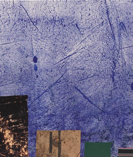 Sterling Ruby,SAR-I SANG(2015), acrylique, élastique, tissu et carton sur toile,182,9 x 182,9x5,1cm.