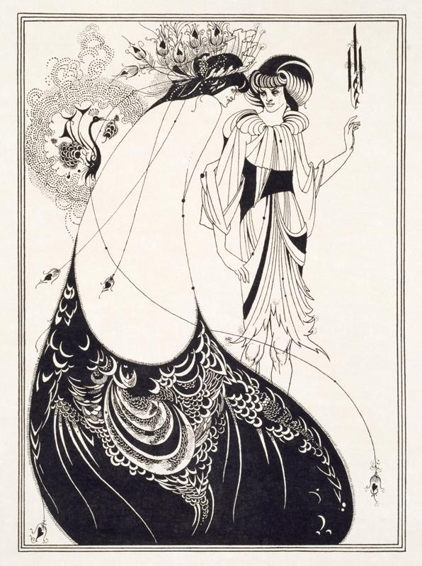 "Aubrey Beardsley, ""The Peacock Skirt"" (1894).Line block print on Japanese vellum paper © Victoria and Albert Museum, London"