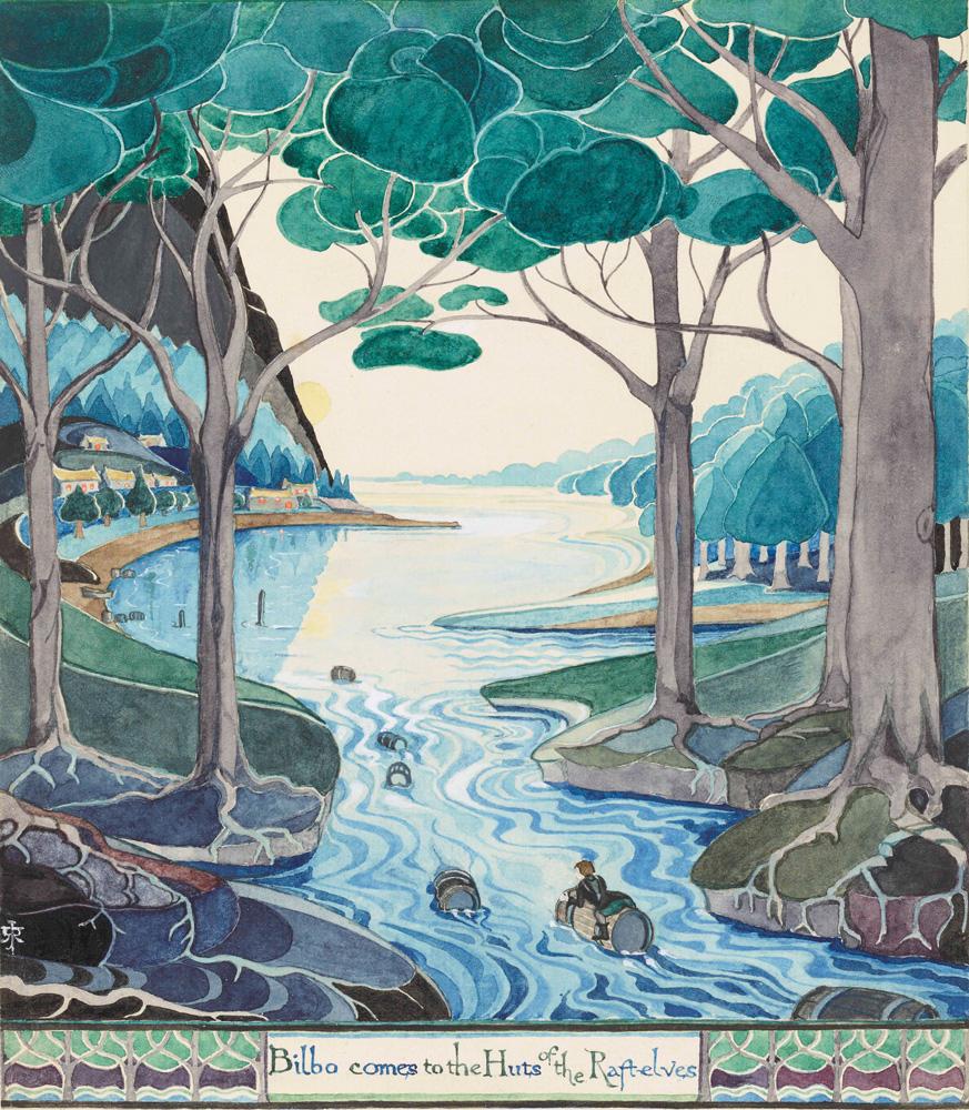 Bilbo arrive aux huttes des Elfes des radeaux, illustration du Hobbit (1937).