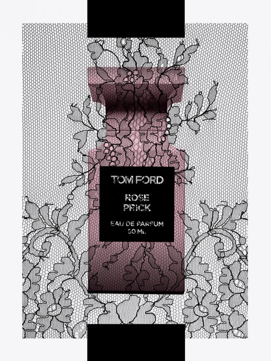 """Cette composition unit avec vivacité la rose de mai turque et bulgare au poivre de Sichuan et à unduo gingembre-curcuma. Les arômes magnétiques des roses se mêlent au souffle boisé et chaud dela fève tonka grillée ainsi qu'aux notes addictives de caramel et de vanille. En toile de fond,le baume de tolu et le musc nimbent l'épiderme d'un sillage singulier. """"Rose Prick"""", eau de parfum,collection Private Blend, TOM FORD."""