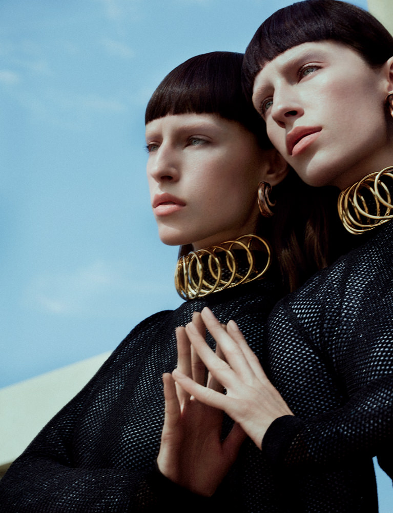 Top, necklace and earring​, LOEWE.