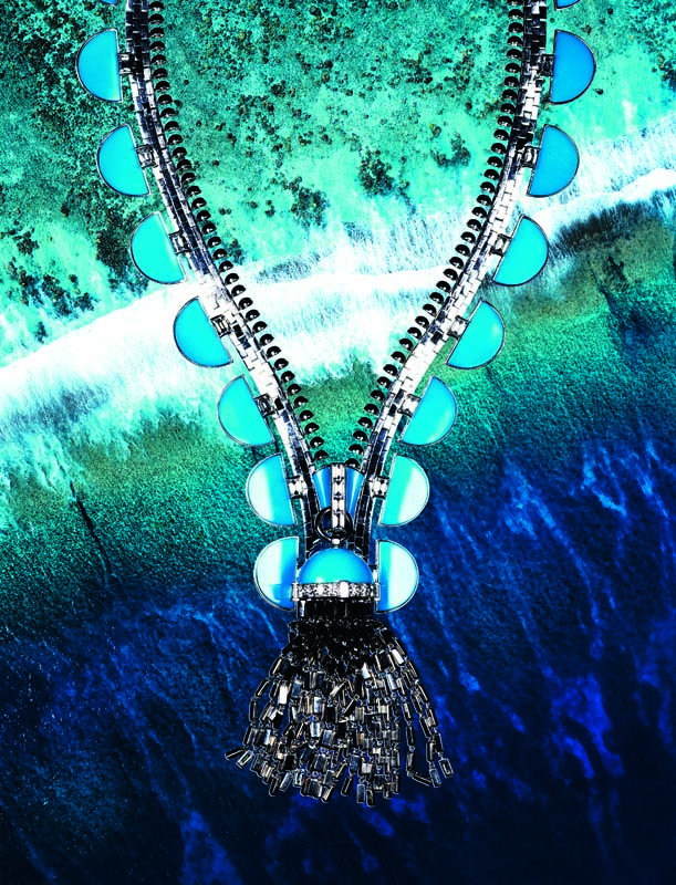 "Collier ""Zip Antique Pastilles"" en or blanc, turquoises et diamants, VAN CLEEF & ARPELS."