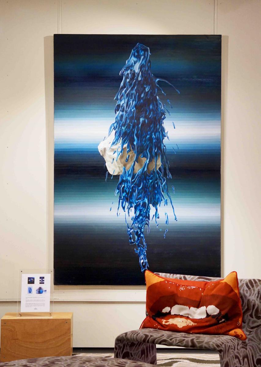"""""""Symbiose"""" de César Bardoux, huile sur toile, 195 x 130 cm."""