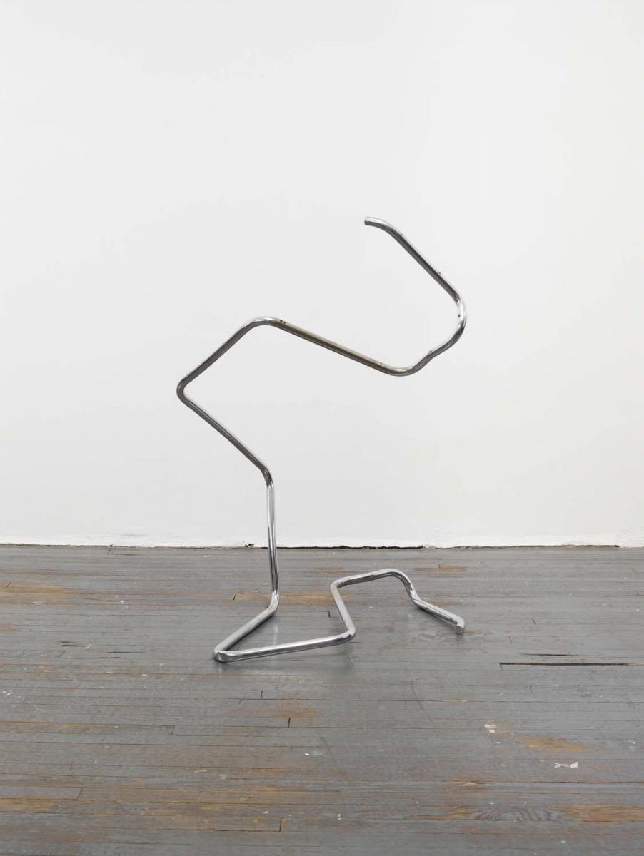 """Wade Guyton, """"Sans titre (Action sculpture-chair)""""(2001). Chaise en acier altéré, 119,4 x86,4 x81,3 cm.Photo: Ron Amstutz. Tony Salame/Aishti Foundation, Beirut, Wade Guyton"""