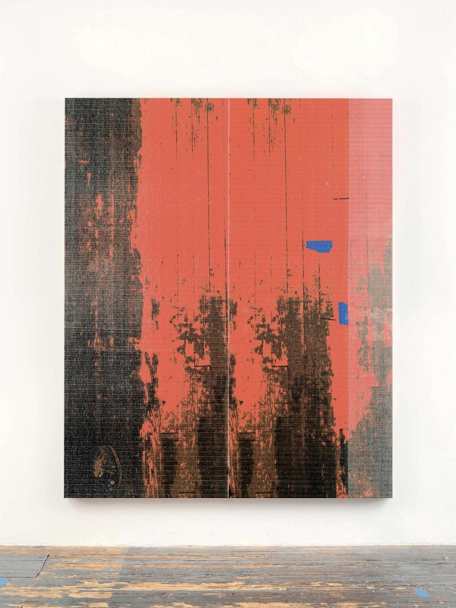 """Wade Guyton, """"Sans titre""""(2017). Impression jet d'encre sur lin, 213,4 x175,3 cm."""