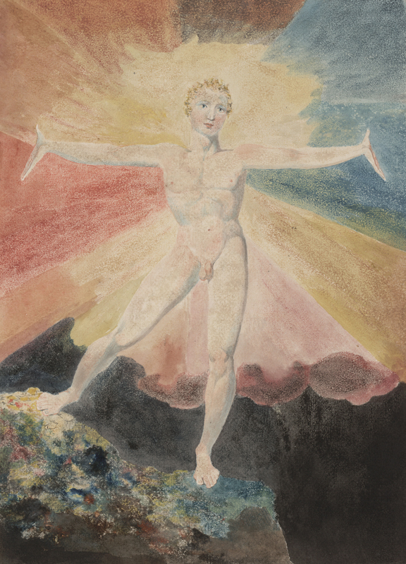 "William Blake, ""Albion Rose"" (c. 1793). Gravure colorée, 250 x 211 mm. Courtesy of the Huntington Art Collections"