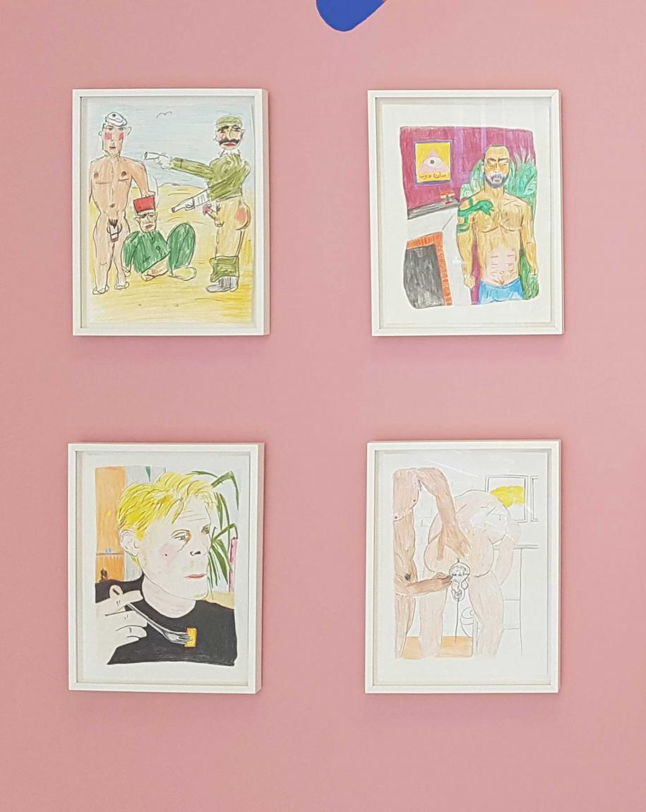 ABABRI Soufiane, Bed Work (2017). Dessins aux crayons de couleur sur papier.