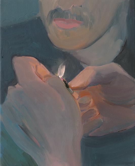 """Xinyi Cheng, """"Lighter III"""" (2019). Huile sur toile, 41 x 33 x 2.5 cm© Galerie Balice Hertling,Paris. Image ©Aurélien Mole."""