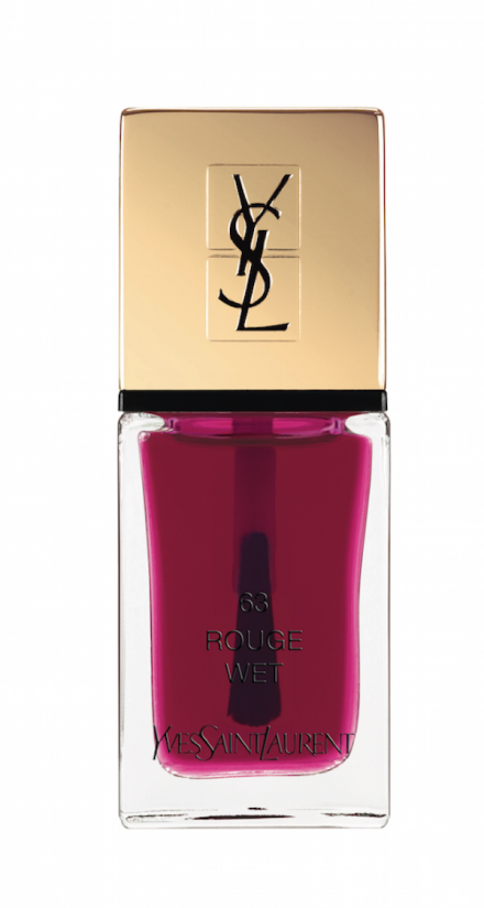 """Raspberry for the nails""""La Laque Couture Pop Water n°63 rouge wet"""", YVES SAINT LAURENT."""