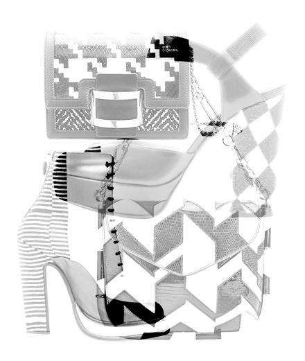 Les sacs et les chaussures noir et blanc de Carven, Emporio Armani, Roger Vivier et Salvatore Ferragamo