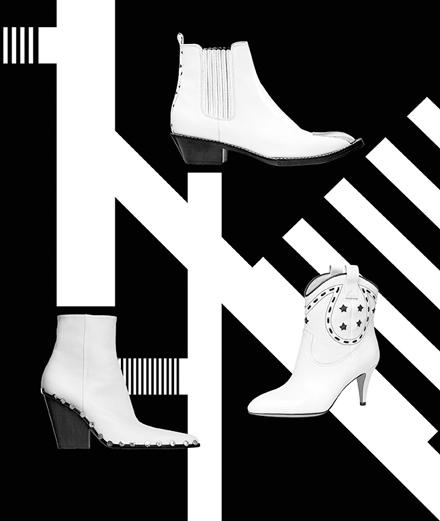 Les boots blanches de Céline, de Louis Vuitton et de Marc Jacobs