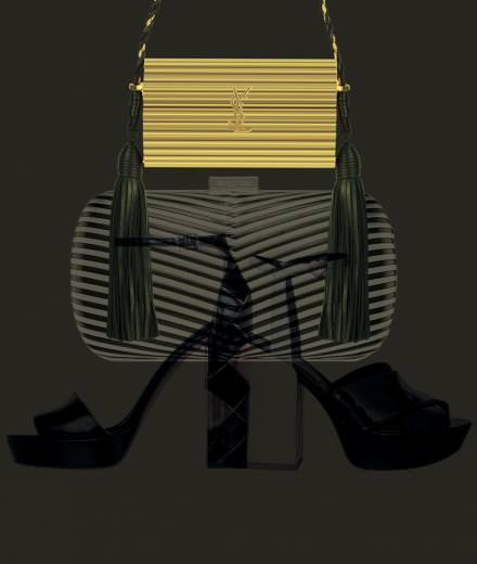 Les accessoires noir et or de Hogan, Saint Laurent, Sergio Rossi et Stella Luna.