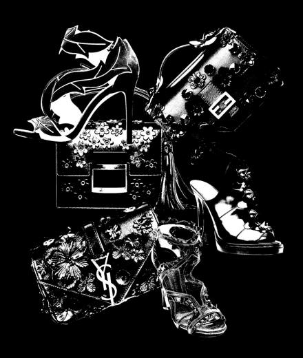 Fendi, Stella Luna, Saint Laurent, Alexander McQueen, and Roger Vivier's black flowered accessories