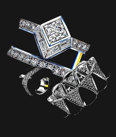 Louis Vuitton, Bulgari et Vhernier : Diamond paved black jewelry