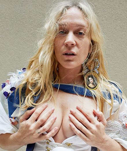 Chloë Sevigny, smoulders in the Vivienne Westwood campaign shot by Juergen Teller