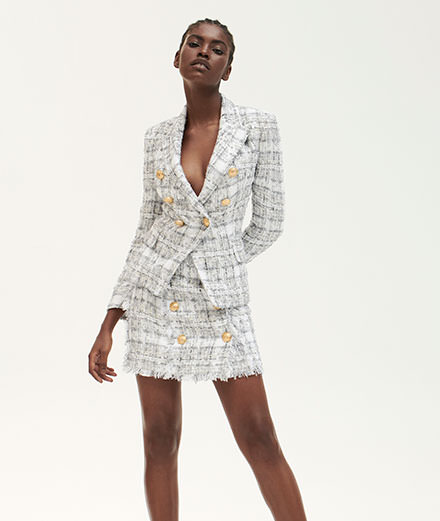 Balmain imagine une collection en tweed blanc pour MyTheresa