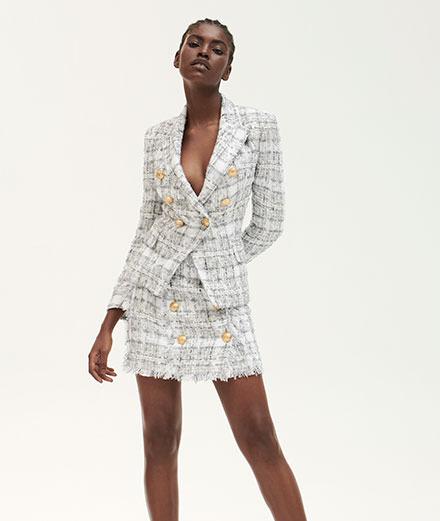 Balmain imagine une collection en tweed blanc pour MyTheresa