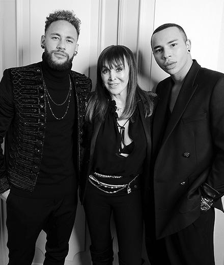 Neymar Jr., Babeth Djian et Olivier Rousteing au dîner de l'association AEM