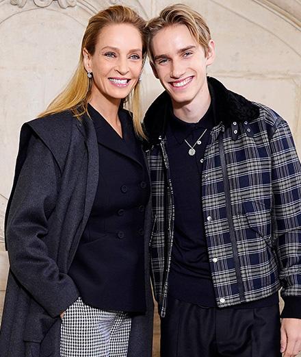 Uma Thurman et son fils au défilé Dior haute couture printemps-été 2020