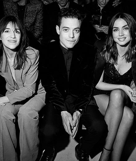 Charlotte Gainsbourg, Rami Malek et Ana de Armas au défilé Saint Laurent