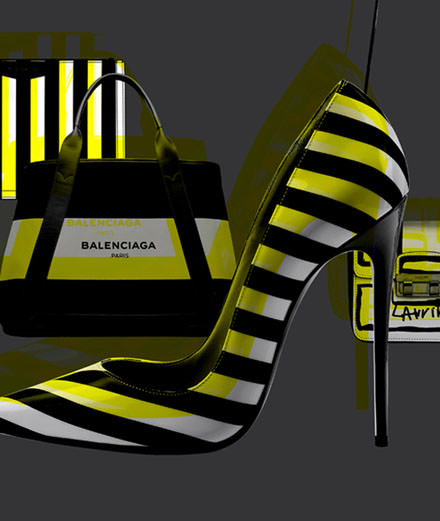 Les accessoires rayés de Balenciaga, Givenchy, Lanvin et Christian Louboutin