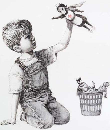 Un homme tente de voler le cadeau de Banksy aux hôpitaux britanniques