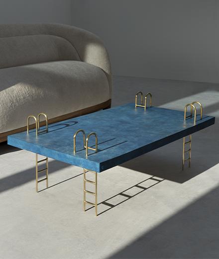 Le designer Franck Genser imagine une table-piscine inspirée de David Hockney