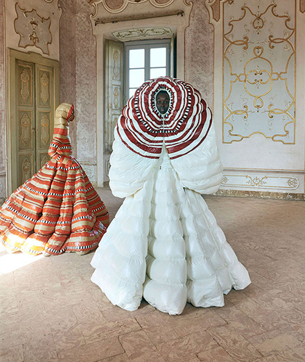 Pierpaolo Piccioli transformed the Moncler jacket into a couture item
