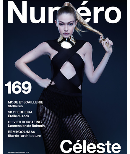 Gigi Hadid wearing Balmain covers the December issue of Numero photographed by Jean-Baptiste Mondino