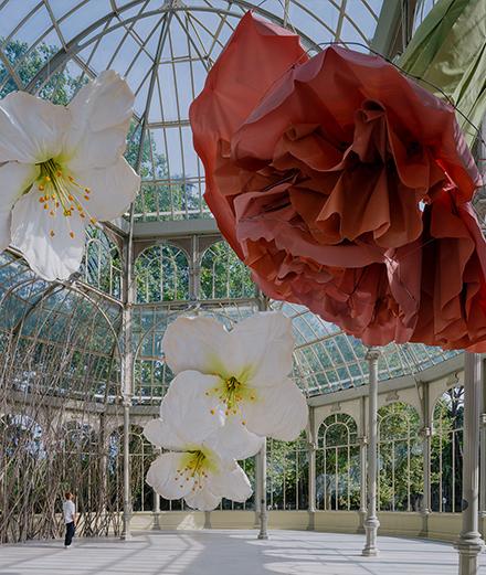 L'artiste Petrit Halijaj fait son nid fleuri dans le palais de Cristal de Madrid