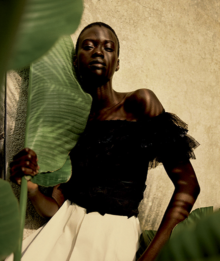 Fatou Jobe as a bird of paradise through Rory Payne's lens