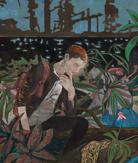 Hernan Bas at the Galerie Perrotin, young dreamers and flowers unveiled