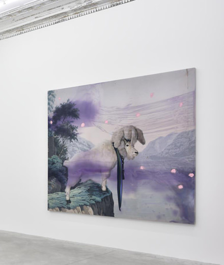 The private opening of Julian Schnabel's exhibition at the Almine Rech Gallery