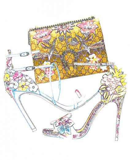 Gucci, Christian Louboutin and Stuart Weitzman's floral accessories