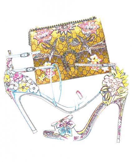 Les accessoires fleuris de Gucci, de Christian Louboutin et de Stuart Weitzman